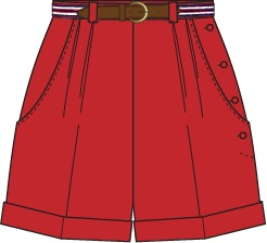 the casual voyager shorts. red