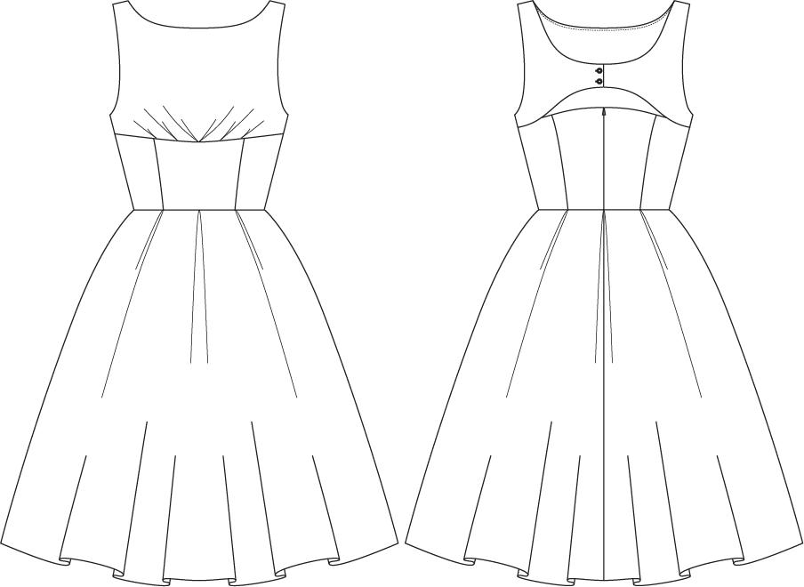 Dress Technical Flat Drawing Sketch Coloring Page