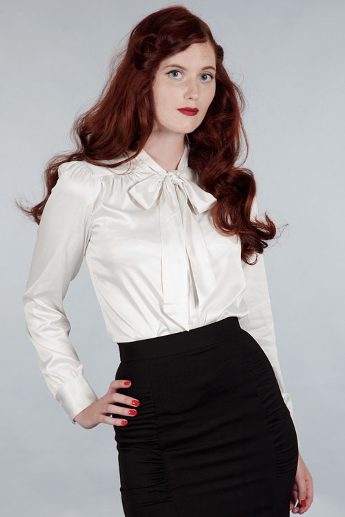 Collection White Satin Blouse Pictures - Reikian