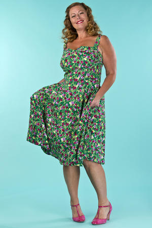 the countryside cutie dress. tulips in green