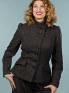 the screen siren jacket. melanged black combed twill