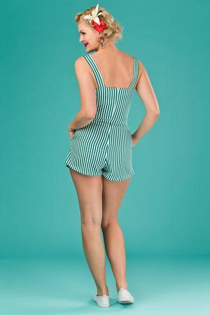 the beach beauty playsuit. striped green/white