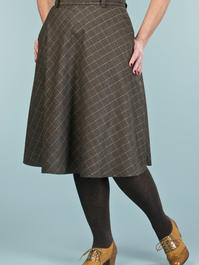 the jazzy A-line skirt. mustard/black plaid