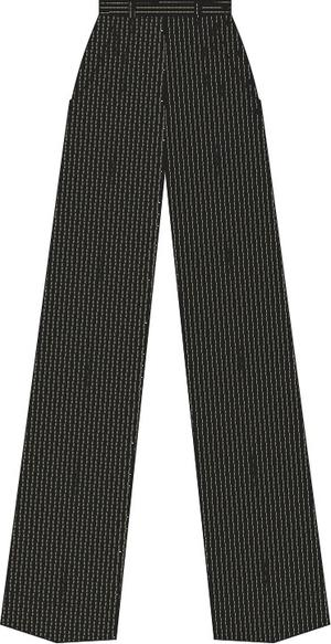 the casual voyager slacks. black pinstripe