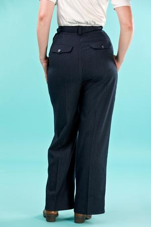 the casual voyager slacks. navy pinstripe