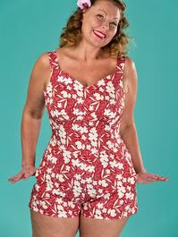 the beach beauty playsuit. red floral