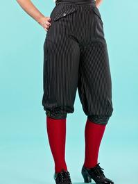 the come ski with me pants. black pinstripe