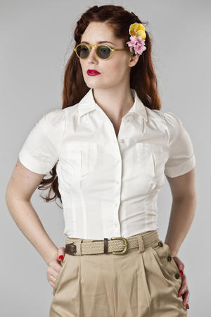 the casual voyager blouse. white cotton