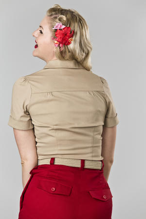 the casual voyager blouse. sand twill