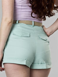 the casual voyager shorts. mint blue twill