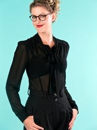 the sassy secretary blouse. black chiffon