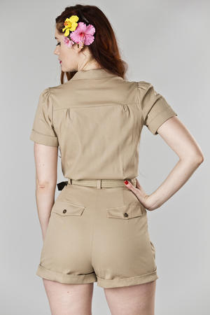 the jungle journey jumpsuit. sand twill