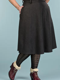 the jazzy A-line skirt. black combed twill