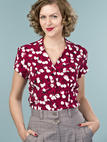 the be my baby blouse. tulips in wine
