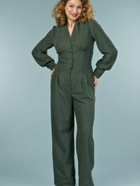 the miss fancy pants jumpsuit. deep forest bouclé