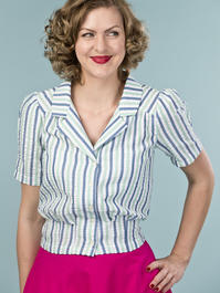 the casual Friday blouse. cream/blue/mint stripe