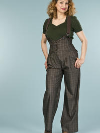 the miss fancy pants slacks. mustard/black plaid