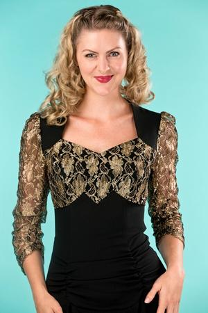 the glory of the past dress. black/gold lace