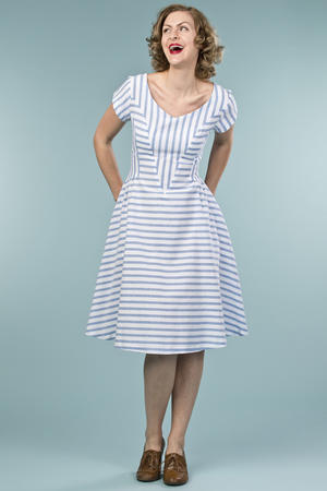 the true thirties dress. blue stripe