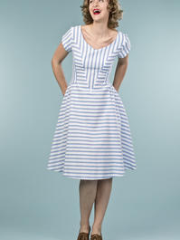 the true thirties dress. blue stripe