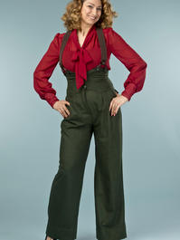 the miss fancy pants slacks. deep forest combed twill