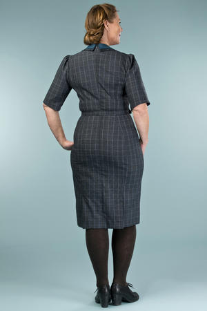 the boss lady dress. teal plaid
