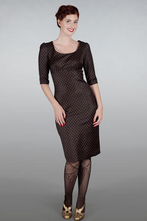 The golden days wiggle dress. Black w. gold scales