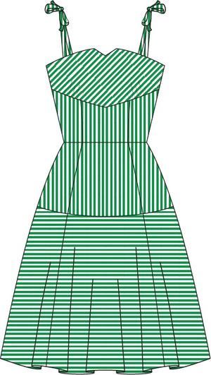 the pretty perfect picnic dress. green/white