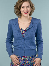 the cute as a button cardigan. blue
