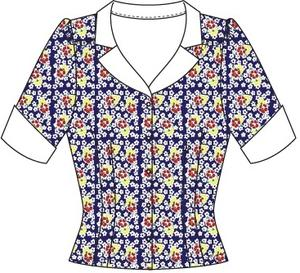 the dashing diner blouse. Navy flowers