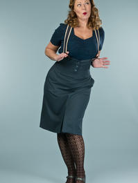 the miss fancy pants skirt. teal combed twill