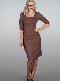 The golden days wiggle dress. Brown salt & pepper