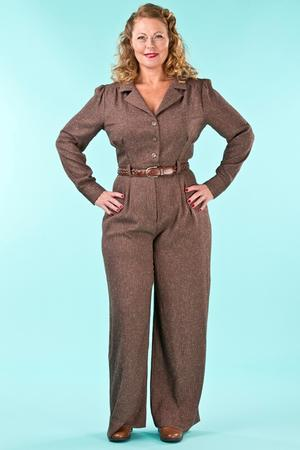 the feminine flair jumpsuit. brown salt & pepper