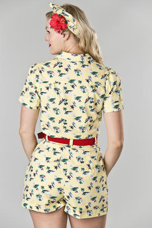 the jungle journey jumpsuit. vacation yellow