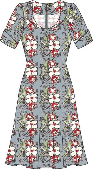 the lovely lindy dress. blue multi floral