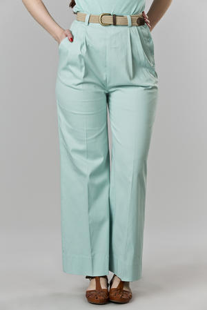the casual voyager slacks. mint blue twill