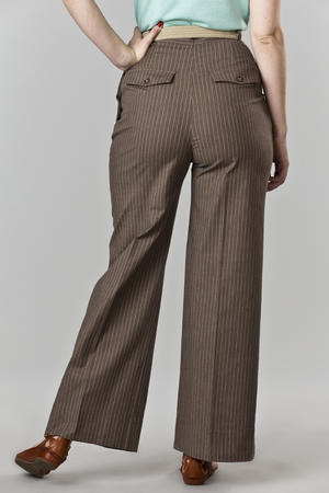 the casual voyager slacks. brown stripe