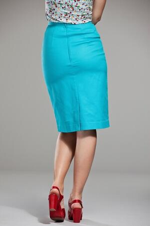 Pretty pencil skirt. Turquoise waffled