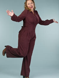 the miss fancy pants jumpsuit. wine bouclé