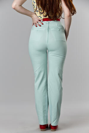 the Peggy Sue pants. mint blue twill