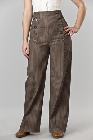 the beautiful Bergman slacks. brown stripe