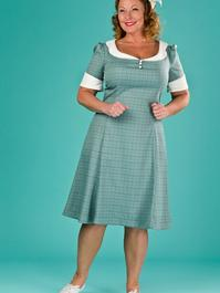 the lovely lindy dress. blue/green/brown weave