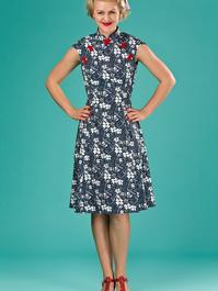 the Shanghai sweetie dress. navy floral