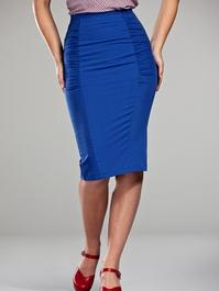Curvy wiggle skirt. Porcelain blue
