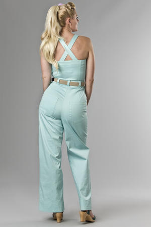 the hayride dungarees. heavy mint blue twill