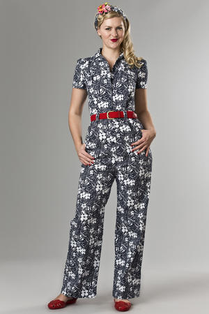 the jungle journey overalls. navy flowers