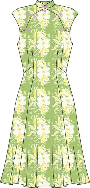 the Shanghai sweetie dress. green floral