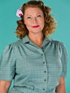 the hepcat holiday blouse. blue/green/brown