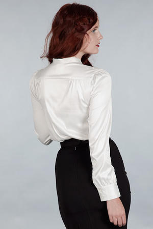 The sassy secretary blouse. White satin