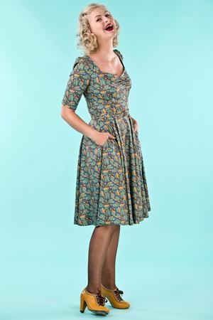 the sweetheart swing dress. acorns dusty blue